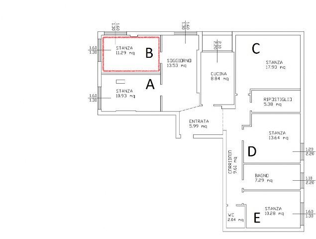 Stanza singola in appartamento moderno