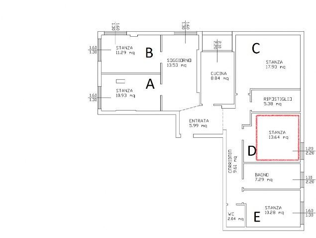 Stanza singola molto ampia in appartamento moderno